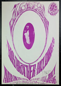 AUCTION - FD-17A - Big Brother 1966 Poster- Mouse Signed - Avalon Ballroom - Near Mint