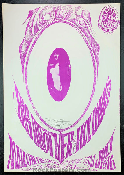 AUCTION - FD17A - Love Big Brother 1966 Original Poster Mouse SIGNED - Avalon Ballroom - Condition - Excellent