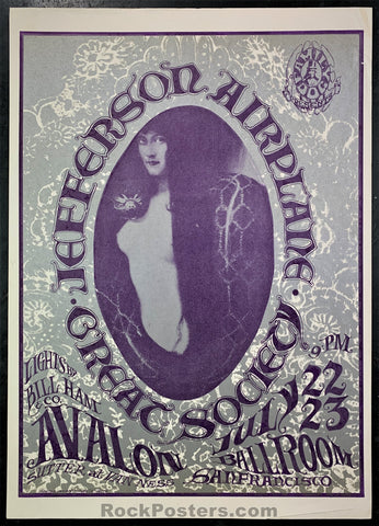 FD17 - Jefferson Airplane Poster - Avalon Ballroom Condition - Excellent