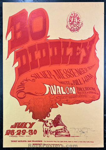 AUCTION - FD18 - Bo Diddley Quicksilver 1966 Mouse Signed Poster - Avalon Ballroom - Condition - Near Mint Minus