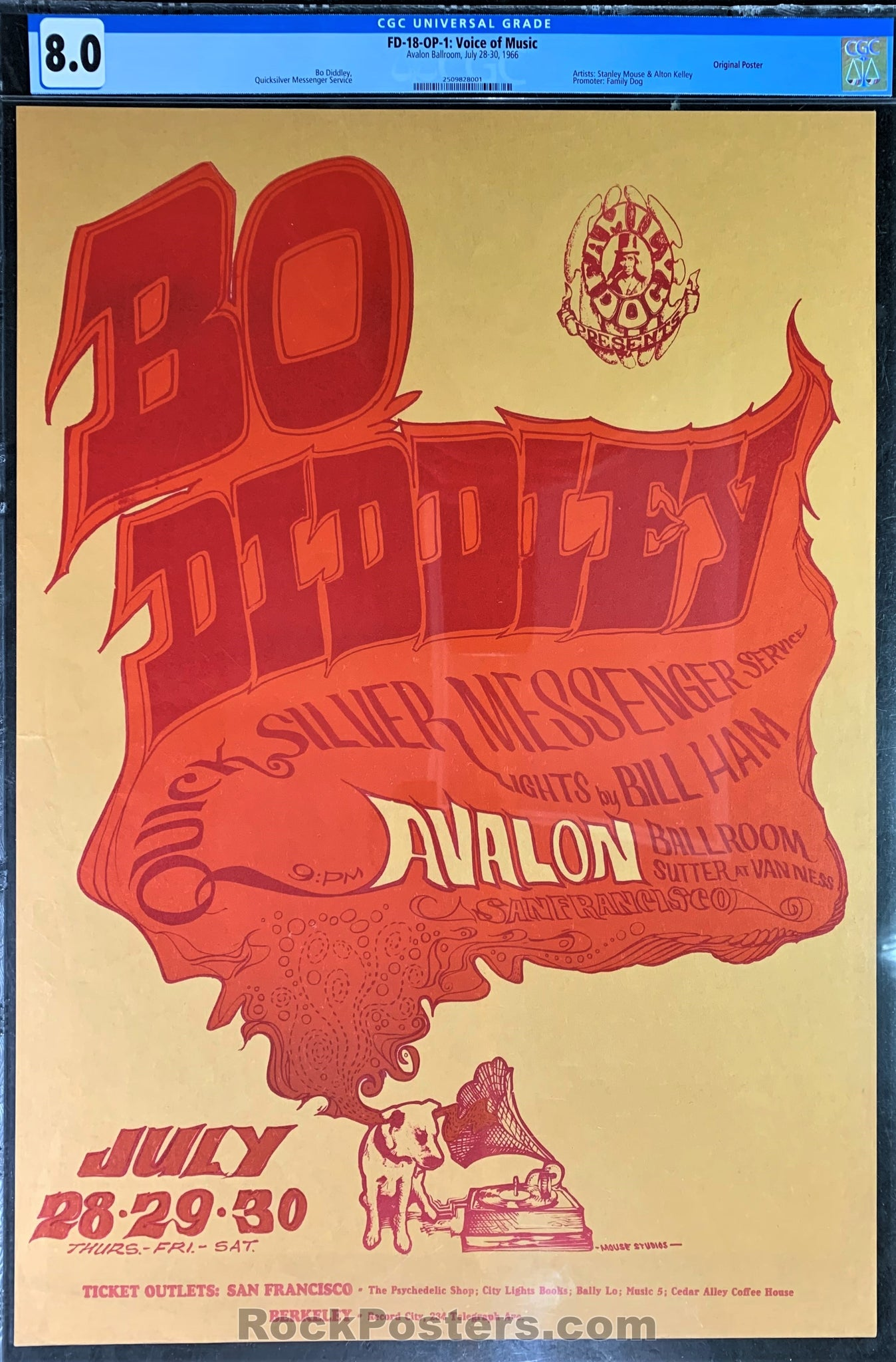AUCTION - FD-18 - Bo Diddley - 1966 Poster - Avalon Ballroom - CGC Graded 8.0