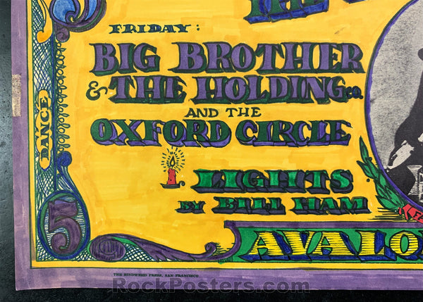 AUCTION - FD-19 - Big Brother Janis Joplin 1966 1st Print Poster - Hand Colored - Excellent