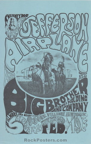 AUCTION - FD 1 -  Tribal Stomp Blue Version Family Dog Handbill - Fillmore Auditorium - Condition - Near Mint