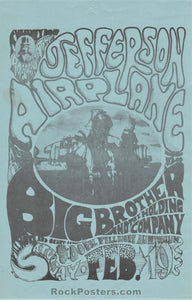 FD-1 - Jefferson Airplane1966 Blue Handbill - Fillmore Auditorium - Condition - Excellent