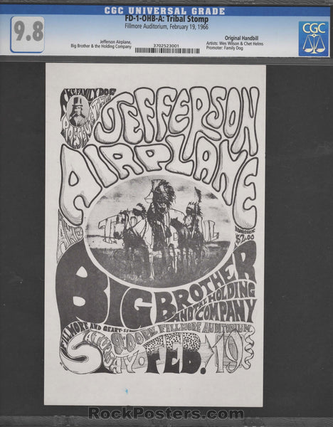 AUCTION - FD-1-OHB-A - Tribal Stomp - Original 1966 Wes Wilson Handbill - Fillmore Auditorium - Condition - CGC GRADED 9.8