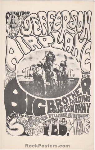 AUCTION - FD-1 - Jefferson Airplane 1966 Handbill - Fillmore Auditorium - Near Mint Minus