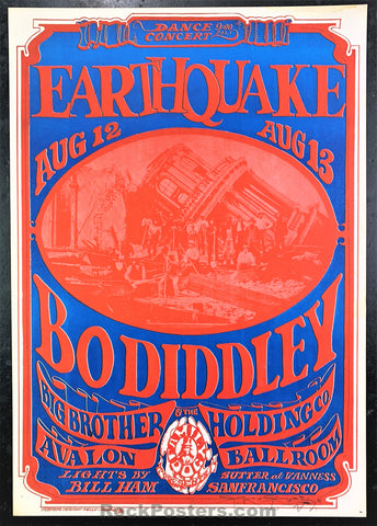 AUCTION - FD21 - Earthquake Big Brother Bo Diddley Mouse SIGNED 1966 Poster - Avalon Ballroom - Condition - Near Mint Minus
