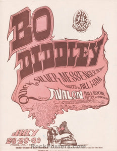 AUCTION - FD-18 - Bo Diddley Quicksilver Avalon Variant 1966 Handbill - Avalon Ballroom - Near Mint Minus