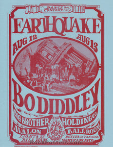 AUCTION - FD 21  - Earthquake 1966 Original Handbill Big Brother  -  Avalon Ballroom - Condition - Near Mint Minus