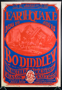 "FD21 - ""Earthquake"" Bo Diddley Signed Poster - Avalon Ballroom - Condition - Good"