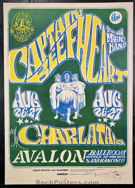 AUCTION - FD-23 - Captain Beefheart & His Magic Band Poster - Mouse Signed - Avalon Ballroom - Very Good