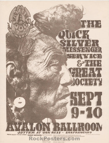 AUCTION - FD25 - Great Society Quicksilver 1966 Handbill - Avalon Ballroom - Condition - Near Mint
