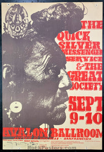 AUCTION - FD-25 - Quicksilver Messenger Service Poster - Mouse Signed - Avalon Ballroom - Excellent