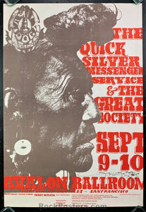 AUCTION - FD-25 - Quicksilver 1966 Poster - Stanley Mouse Signed - Avalon Ballroom - Near Mint Minus