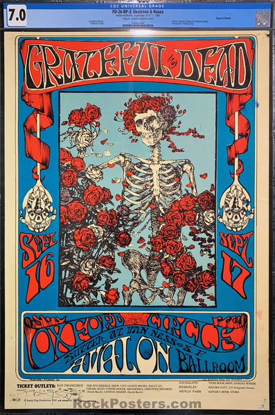 FD-26 - The Grateful Dead RP-3 Poster - Mouse Signed - Avalon Ballroom - CGC Graded 7.0