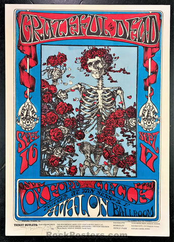 AUCTION - FD 26  - Grateful Dead SKELETON & ROSES Original Mouse SIGNED  Kelley Avalon Poster - Condition - Excellent