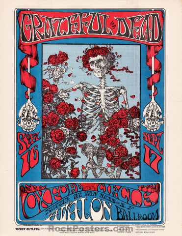 AUCTION - FD 26 - Grateful Dead 1966 Original Handbill Skeleton & Roses  - Avalon Ballroom - Condition - Near Mint
