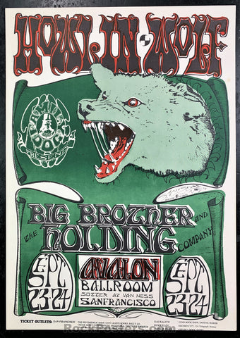 AUCTION - FD-27 - Howlin Wolf Poster - Mouse Signed - Avalon Ballroom - Near Mint Minus