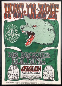 AUCTION - FD 27 - Janis Joplin Big Brother Howlin' Wolf DUAL SIGNED Original 1966 Avalon Poster   - Condition - Near Mint