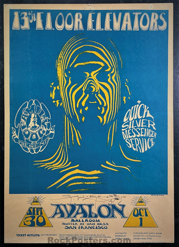 AUCTION - FD-28 - 13th Floor Elevators  - 1966 Poster - Mouse Signed - Avalon Ballroom - Good