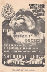 AUCTION - FD2 - King Kong Memorial Great Society 1966 Handbill - Fillmore Auditorium - Condition - Excellent