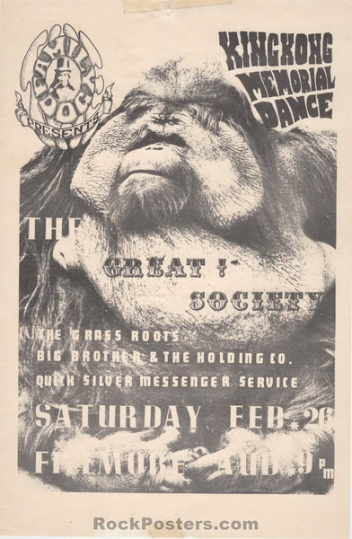 FD-2 - King Kong Great Society 1966 Handbill - Fillmore Auditorium - Condition - Excellent