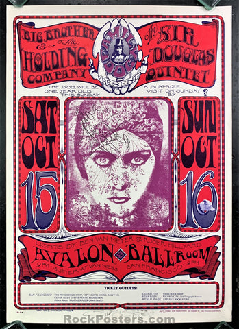 AUCTION - FD-30 - Big Brother Janis Joplin &  Mouse SIGNED 2nd Print Poster - Avalon Ballroom - Excellent