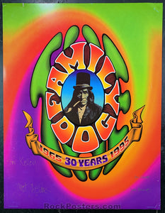 AUCTION - Alton Kelley Collection - Family Dog 30th Anniversary 1995 Poster - Chet Helms & Jim Phillips Signed - Condition - Very Good