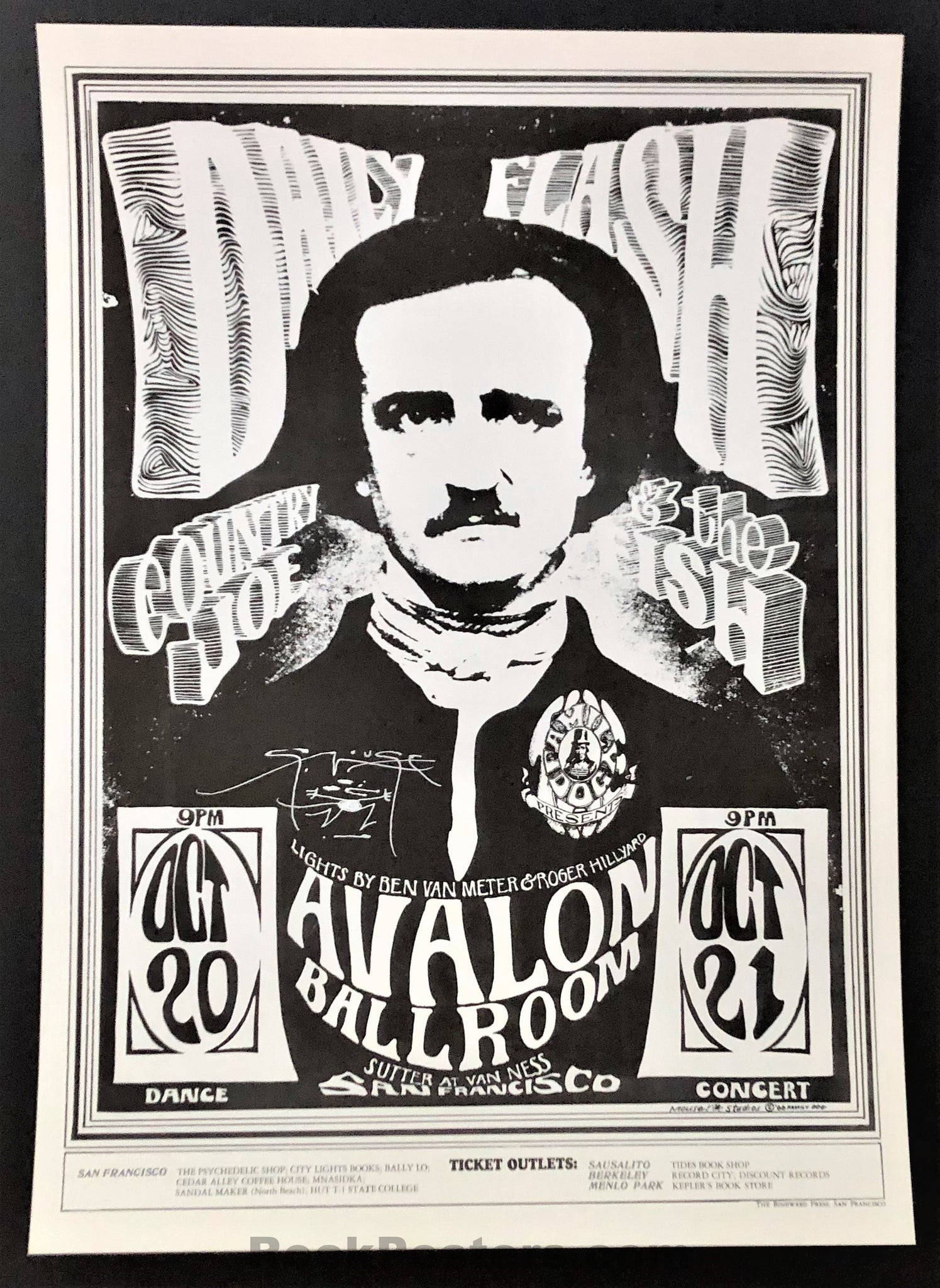 AUCTION - FD-31 - Country Joe & the Fish - 1966 Poster - Stanley Mouse Signed  - Avalon Ballroom - Mint