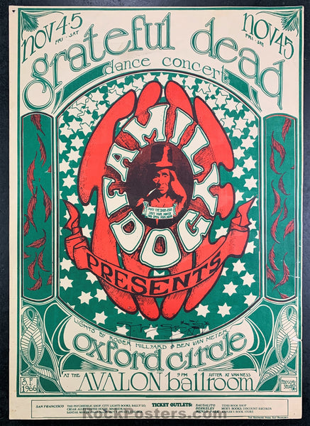 FD33 - The Grateful Dead Signed Poster - Avalon Ballroom - Condition - Very Good