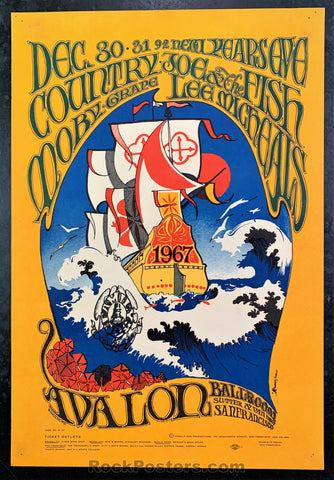 AUCTION - FD41 - Country Joe & The Fish NYE 1967 Poster - Avalon Ballroom - Condition - Excellent