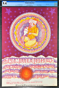 AUCTION -  FD-44 - Miller Blues Band 1967 Poster - Moscoso Signed -  Avalon Ballroom - CGC Graded 9.4
