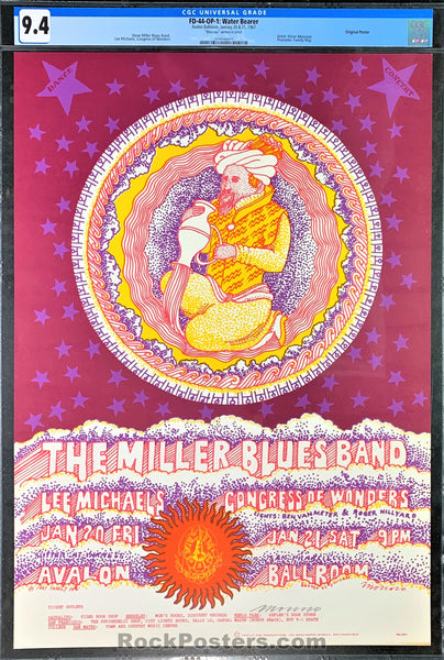 FD-44 - Miller Blues Band Signed Poster - Avalon Ballroom -  Condition - CGC Graded 9.4