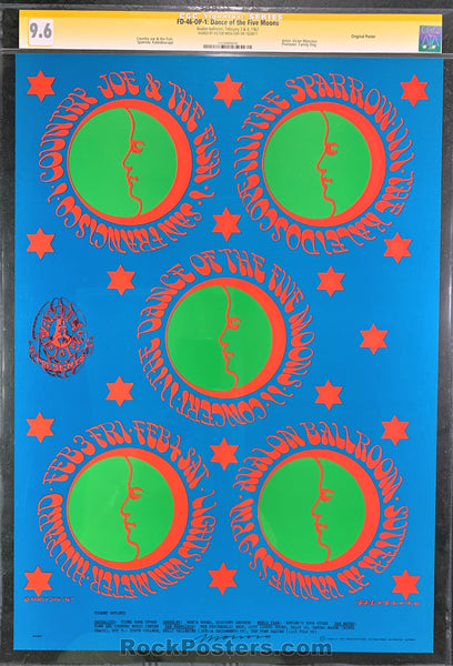 AUCTION -  FD-46 - Country Joe & the Fish 1967 Poster - Moscoso Signed - Avalon Ballroom - CGC Graded 9.6