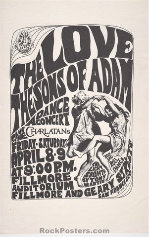 AUCTION - FD4 - Love Charlatans 1966 Handbill - Fillmore Auditorium - Condition - Near Mint Minus