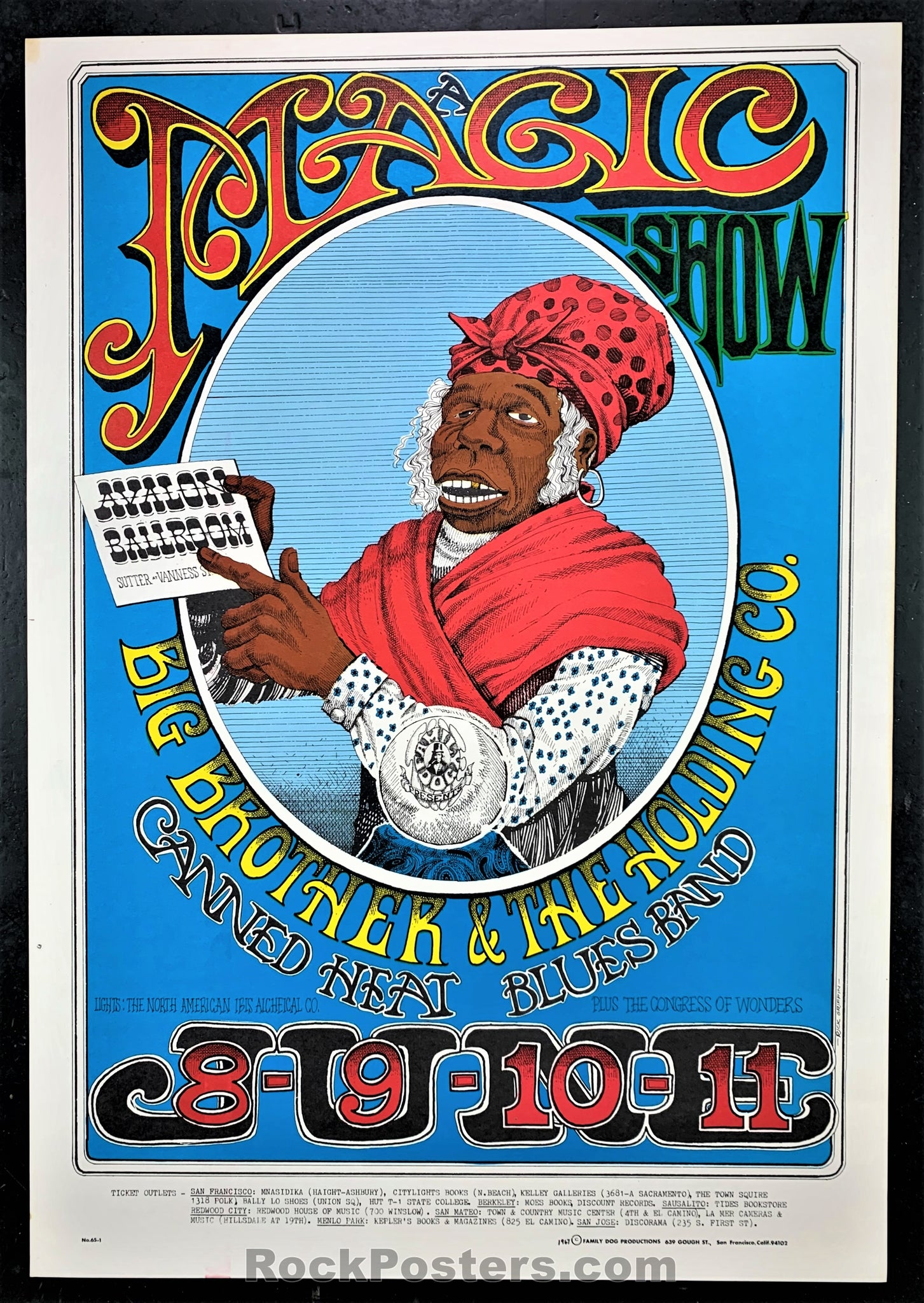 AUCTION -  FD65 -  Big Brother Janis Joplin 1967 Original Poster - Avalon Ballroom - Condition - Near Mint Minus