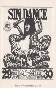 AUCTION - FD6 - Sin Dance Rare Handbill - Avalon Ballroom - Condition - Near Mint