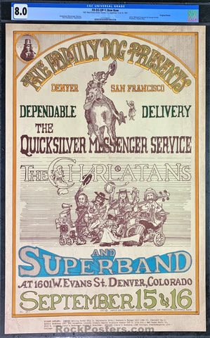AUCTION - FD-D2 - Quicksilver Messenger Service - 1967 Poster - Family Dog Denver - CGC Graded 8.0