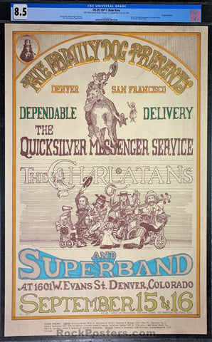 FDD2 - Quicksilver Messenger Service Poster - Family Dog Denver - Condition - CGC Graded 8.5