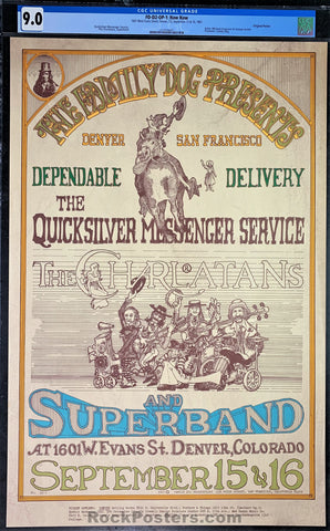 AUCTION - FDD2 - Quicksilver Messenger Service Poster - Family Dog Denver - Condition - CGC Graded 9.0