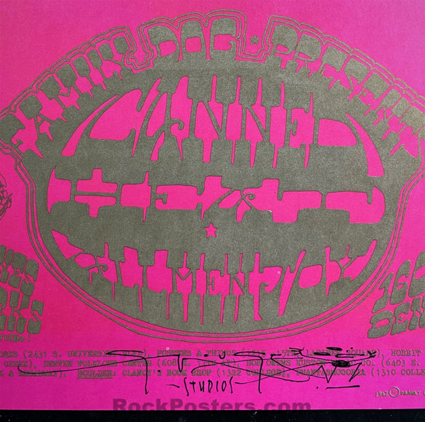 AUCTION - FDD-7 - Canned Heat - 1968 Poster - Mouse Signed - 1601 West Evans - Near Mint