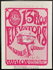 AUCTION - FD-24 - 13th Floor Elevators 1966 Two-Sided Handbill - Avalon Ballroom - Near Mint