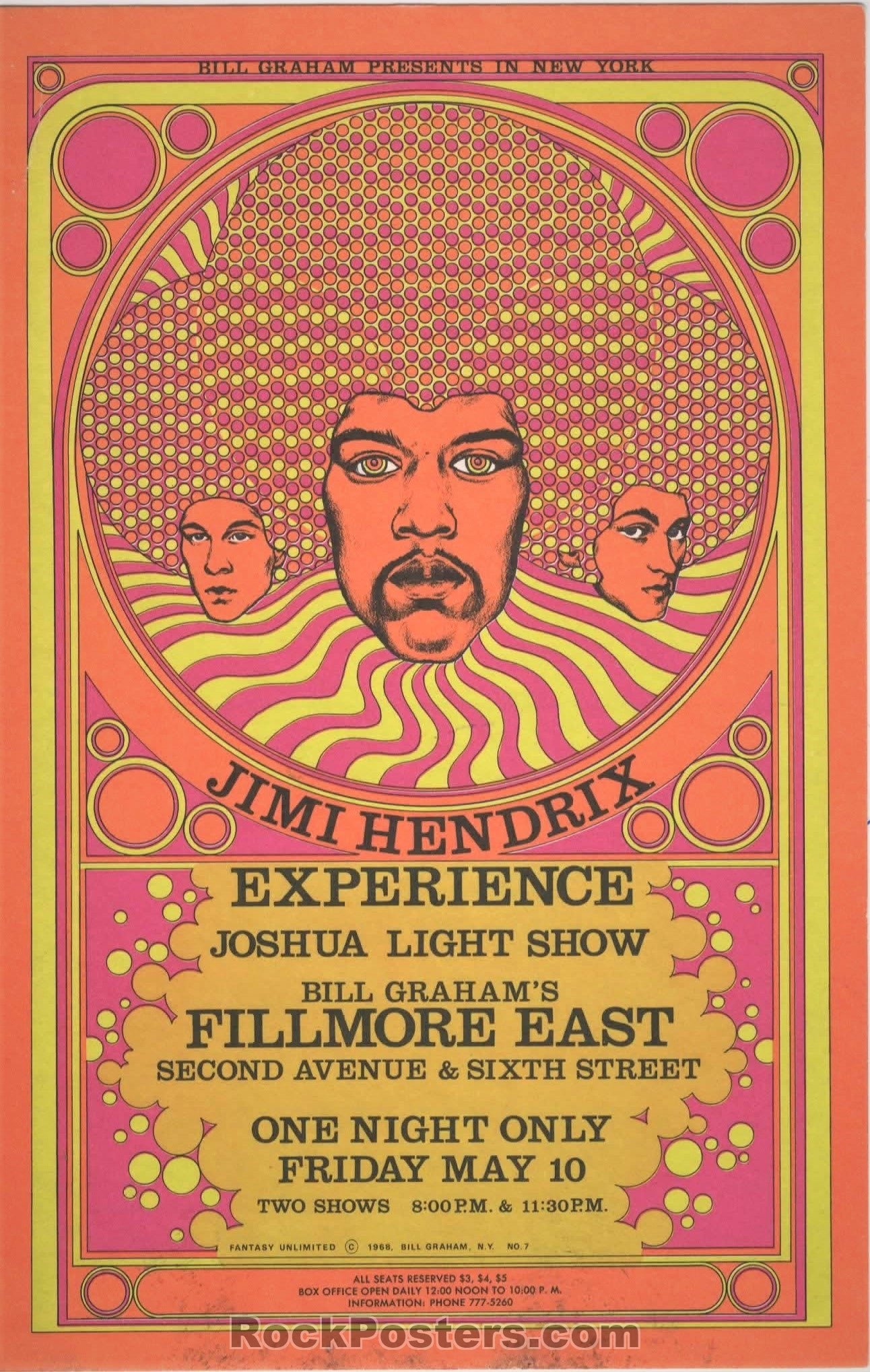 AUCTION - AOR 2.90 - Jimi Hendrix Fillmore East 1968 NYC Postcard - Condition - Excellent