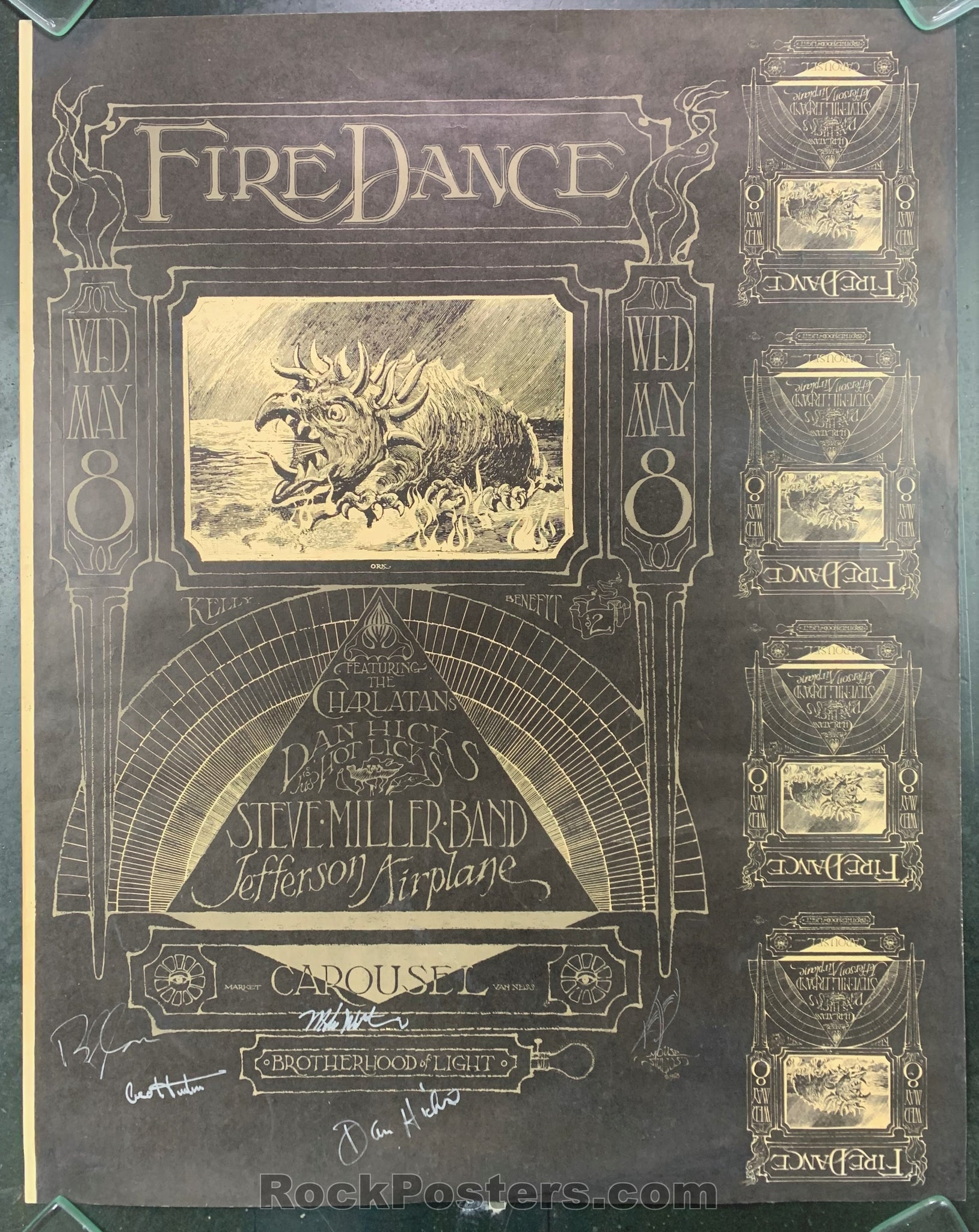 AUCTION -  AOR 2.173 -  Fire  Dance 1968 Band & Kelley Signed Poster - Carousel Ballroom - Condition - Very Good