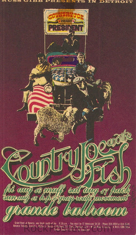 GB49 - Country Joe and the FIsh Postcard - Grande Ballroom (24-Nov-67) Condition - Excellent
