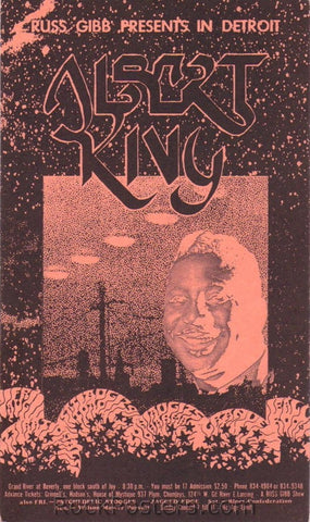 GB50 - Albert King Postcard (Salmon) - Grande Ballroom (23-25 Aug-68) Condition - Near Mint