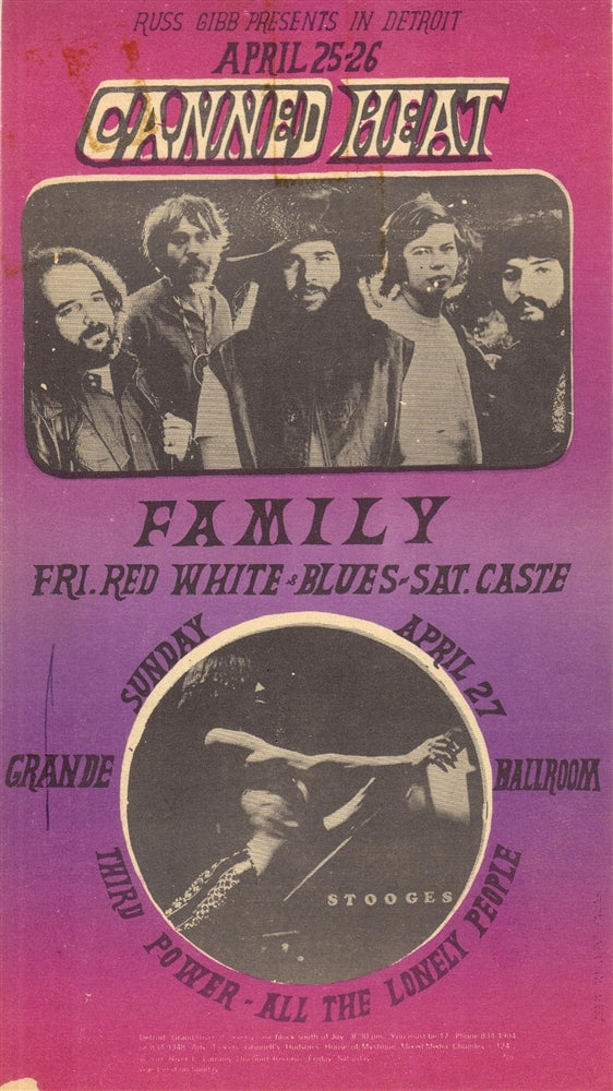 GB77 -Canned Heat Postcard - Grande Ballroom (4/25-27/1969) Condition - Near Mint