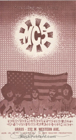 AUCTION - MC5 1968 Handbill - Carl Lundgren Signed - Muskegon, MI. - Mint