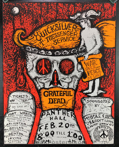 AUCTION - AOR4.161 - Grateful Dead Texas Panther Hall 1970 Concert Poster - Panther Hall - Condition - Excellent