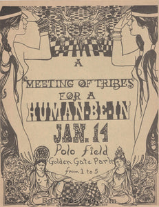 AUCTION - Human Be-In - Rare  Grateful Dead Timothy Leary Original Handbill - Golden Gate Park - Condition - Near Mint